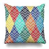 Monicago Zierkissenbezüge, Strict African Geometric Rainbow Simple Regular Color Continuity Spectrum Abstract Pattern Mexican Pillowcase Square Size 18 x 18 Inches Home Decor Cushion Cases