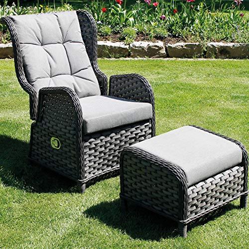 Mojawo Luxus Comfort Relaxsessel Flachrattan Ohrensessel Polyrattan, inkl. Polster und Fußteiil verstellbare Rückenlehne Gartensessel Rattansessel