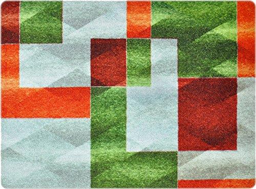 deco-mat Designer Fussmatte für Haustür, Flur, Innen und Aussen   Fussmatten Rutschfest und waschbar   Praktische Schmutzfangmatte - Fußabtreter   Fussabstreifer - GRÜN GRAU ORANGE 50 x 70 cm