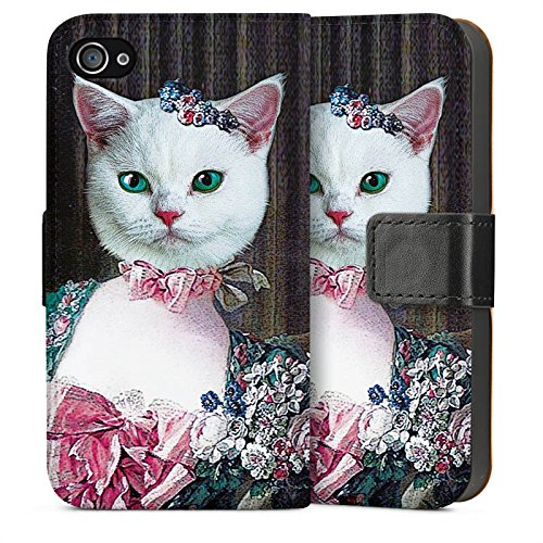 Apple iPhone 4 Housse Étui Silicone Coque Protection Chaton Chat Chat Madame Sideflip Sac