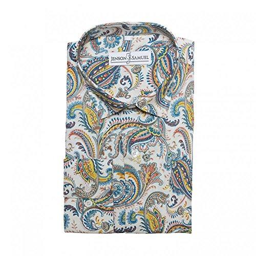 Herren Hemd, 100% Baumwolle, regulŠre Passform, bedruckt mit floralem Paisley-Muster, S M L XL 2XL 3XL 4XL, Kragenweite 37Ð48 cm - Cream Blue Paisley