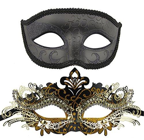 Coppia di maschere veneziane in metallo e in plastica, per carnevale e halloween black-6