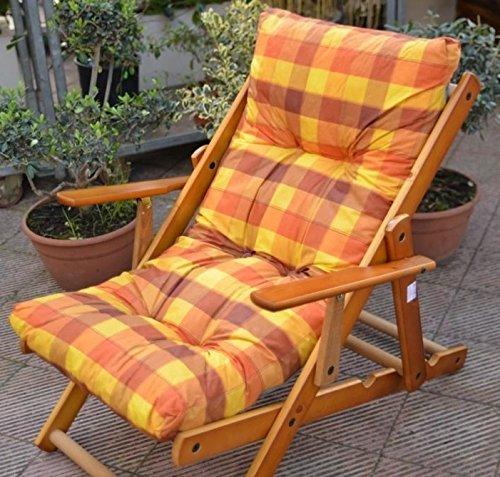 Cojín acolchado de repuesto para tumbonas en tejido antidesgarro, amarillo, cód. LI340