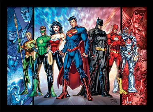 Pyramid International DC Comics (Justice League United) 30x40 cm gerahmter Druck, 250GSM PAPERWRAP MDF, Mehrfarbig, 44 x 33 x 4 cm