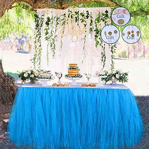 DEHUAIYKIO Roed Bullet Tutu Tüll Tisch Rock Tischröcke Party Dekorationen Geeignet für Hochzeit Geburtstagsfeier Festivals Dekor Dekoration Baby Mädchen Papierschnur Blumen (Blau) (Für Dekorationen Tisch Geburtstagsfeiern)