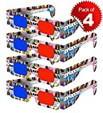 3D Glasses for Mobile Phone, Computer, Laptop, TV, Projector and Magazines for Anaglyph 3D Video Passive Cyan and Magenta Red & Blue Paper 3D Glasses (Pack of 4 pcs) DOMO RB2B nHance