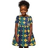 Zrom 7-12 Years Baby Girls Dress,Kids Girls African Dashiki 3D Digital Print Short Sleeve Princess Dress