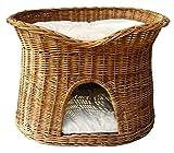 Floranica® - L oder XL Katzenkorb / Katzenbett / Katzenliege / Katzenbaum / Kuschelhöhle aus Weide mit oder ohne Kissen (wählbar), Kissenfarbe:helle Kissen, Größe:XL (B 70cm T 50cm H 50cm)