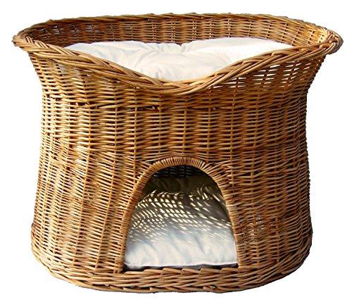 Pemicont Floranica® - L oder XL Katzenkorb/Katzenbett/Katzenliege/Katzenbaum/Kuschelhöhle aus Weide mit oder ohne Kissen (wählbar), Kissenfarbe:helle Kissen, Größe:XL (B 70cm T 50cm H 50cm)
