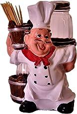 Purpledip Ceramic Salt N Pepper Shaker with Toothpick Holder 'MasterChef'; Kitchen Dining Quirky Decor Gift (11378)