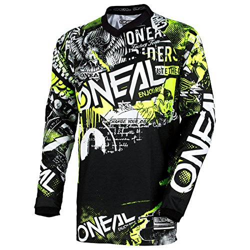 O'Neal Element Attack Motocross Kinder Jersey Trikot MX Enduro Offroad Gelände Quad Cross Youth, 0006, Farbe Schwarz Hi-Viz Gelb, Größe M (Mädchen Motocross Jersey)