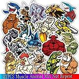 Inveroo 21 Pcs Músculo Músculo Animal Dibujos Animados Anime Graffiti Juguete Pegatina para Nevera Bicicleta Portátil Equipaje Guitarra Sticke R