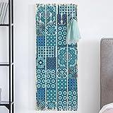 Bilderwelten Wandgarderobe Holz - Marokkanische Mosaikfliesen türkis blau - Haken chrom - Hoch, Garderobenpaneel Holzpaneel Kleiderhaken Flurgarderobe Hakenleiste Holz Hängegarderobe inkl. Haken, Größe HxB: 100cm x 40cm