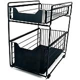 Mocosy Panier de Rangement Coulissant à 2 Niveaux, tiroir Organisateur, Porte-épices, Panier Coulissant sous évier, étagère d