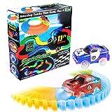 Mibote Rennbahn mit LED Race Cars Autorennbahn Spielzeug 223 Stück Flexible Variable Track Set Glow in der Nacht Glühend Autobahn Weihnachtsgeschenk für Kinder