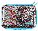 Smiggle Hartschalenmäppchen, glitzernd, blau mit Regenbogen, reversible Pailletten
