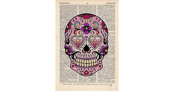 Sugar Skull 4 Dictionary Art Print Vintage Day of the Dead Alternative Muertos