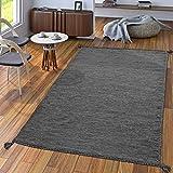 Handwebteppich Wohnzimmer Natur Webteppich Kelim Modern Baumwolle In Grau, Größe:80x150 cm