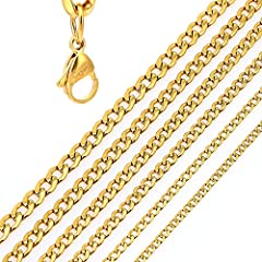 Idea Regalo - DonDon Collana a Maglie Larghe Uomo in Acciaio Inox Colore Oro Lunghezza 52 cm - Ø 0,4 cm