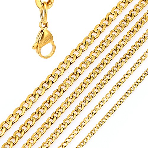 DonDon® Herren Halskette Panzerkette Edelstahl goldfarben Länge 52 cm - Breite 0,4 cm