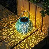 GIGALUMI Solar Laterne Blau Solarlampe für außen wasserdicht Gartenlaterne ideal für Garten,Terrasse,Hinterhöfe und Wege