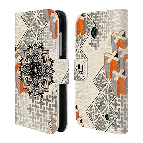 Head Case Designs Mandala E Croce Arte Puntiforme 2 Cover telefono a portafoglio in pelle per Nokia Lumia 630 / 635 - Croce Cucita Arte