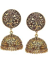 V L IMPEX Oxidized Metal with Flower Print Women Fashion Jhumka Jhumki Earrings