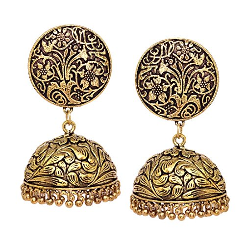 V L IMPEX Oxidized Metal Gold Finish With Flower Print Women Fashion Jhumka Jhumki Earrings