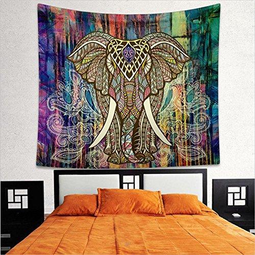 Generic Böhmisch Stil Wandteppich Teppich Yoga Matte Ver. Musster - Bunte Elefanten
