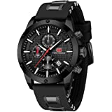 Mens Sport Watches Military Waterproof Multifunction Chronograph Watch Luminous Silicon Strap Casual Watches for Men Fashion