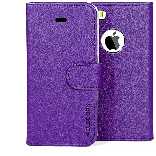 iPhone 5 Wallet Fällen, buddibox, Purple with Pink