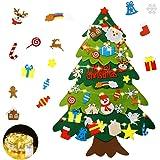 Mgrett Fieltro Árbol de Navidad, Árbol de Navidad de Fieltro DIY 32 Unids, Navidad Decoración Colgante Luz de Cadena LED para