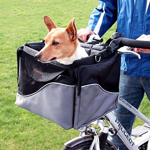 WANGADO Robusta e resistente cesta da bici e sportain nylon 2 in 1 L 41 x P 26 x H 26 cm tasche laterali richiudibili e tracolla regolabile. Carico massimo: 7 kg.