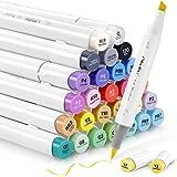 24 marqueurs à alcool pour les couleurs de peau, pinceau et ciseau burin Ohuhu pour enfants, artiste, étudiants, marqueurs pi