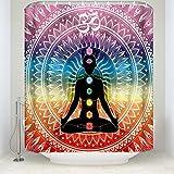 Z&L Home Yoga Sieben Chakra Dusche Vorhänge meditierend Gekreuzt Sie die Beine Pose Frauen Multicolor Muster Mandala Badezimmer Vorhang Sets Polyester Stoff Art Deco 54x78Inches Mehrfarbig