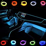 Light Wire El Wires 5M/16FT Neon Tube Lights Car Interior Trim Light Strip DC 12V Flexible LED Lights for Car Decor(Ice Blue)