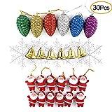 Kuuqa 30 pezzi Ornamenti di albero di Natale, tra cui Mini Babbo Natale Ciondolo, fiocco di neve, campana