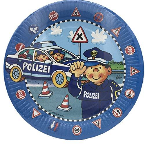 8 Teller * POLIZEI - PAUL DER POLIZIST * für Kindergeburtstag und Mottoparty // Kinder Geburtstag Police Polizeiauto Pappteller Partyteller