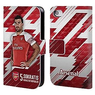 Head Case Designs Offizielle Arsenal FC Shkodran Mustafi 2018/19 Erstes Team Gruppe 1 Brieftasche Handyhülle aus Leder für iPhone 4 / iPhone 4S