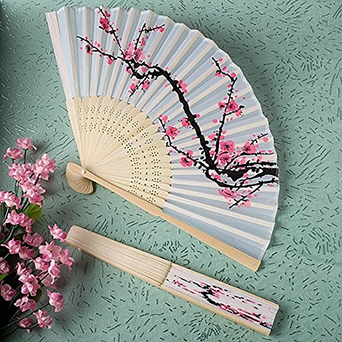 Price comparison product image ANKKO Silk Lace Fabric Flower Pattern Black Cloth Folding Hand Fan