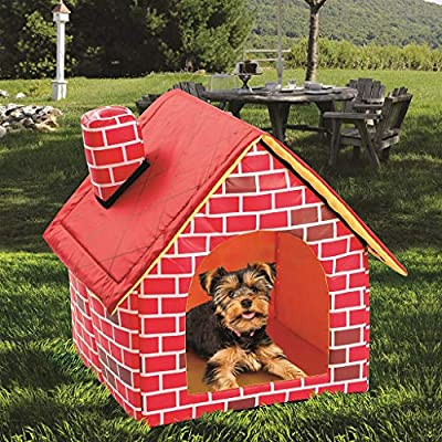 VOVOL Warm Indoor Soft Dog Kennel with Chimney Pet Large House Simulation Brick Doggy Beds with Mat Indoor Polyester Nest Tent by VOVOL