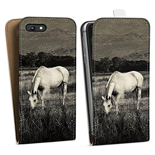 Apple iPhone X Silikon Hülle Case Schutzhülle Pferd Stute Hengst Downflip Tasche weiß