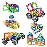 AMZtronics Blocchi Magnetici Costruzioni di 39 Pezzi Giocattoli Educativi 3D Colore dell'arcobaleno Perfetto Giocattolo e Regalo per Bambini con la Custodia e 2 Ruote
