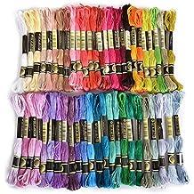 Zedtom 50 x Embroidery Cotton Thread Assorted Coloured Skeins Stitch Thread for Children