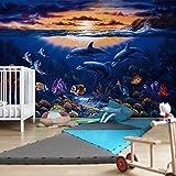 Apalis Vliestapete Dolphins World Fototapete Breit | Vlies Tapete Wandtapete Wandbild Foto 3D Fototapete für Schlafzimmer Wohnzimmer Küche | mehrfarbig, 94597