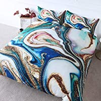 BlessLiving Bedding Duvet Cover Set Blue Marble, Green Turquoise Faux Gold Glitter Abstract Pattern 3 Piece Microfiber Comforter Quilt Cover with Zipper Closure Ties (Double)