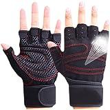 CESHMD Sporthandschoenen, halve vingers, ademend, gewichtheffen, fitnesshandschoenen, halter, mannen, vrouwen, gym, handschoe