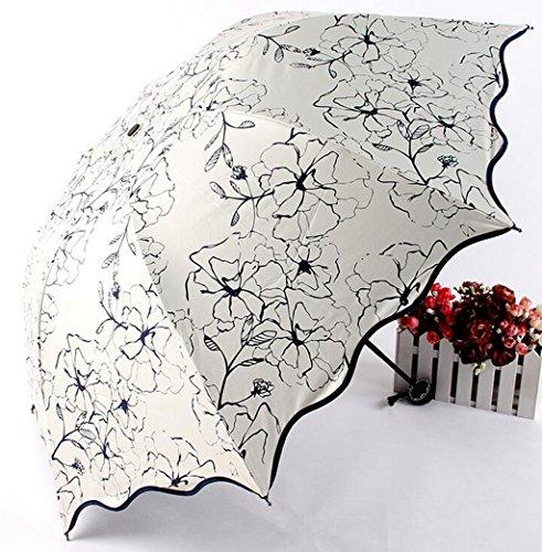 GTWP GT Regenschirm Manual Mode 3 Folding Umbrella kreative, Hibiskus Blume, Regen Regenschirm stabile Winddicht Anti-UV-Sonnenschutz Dach