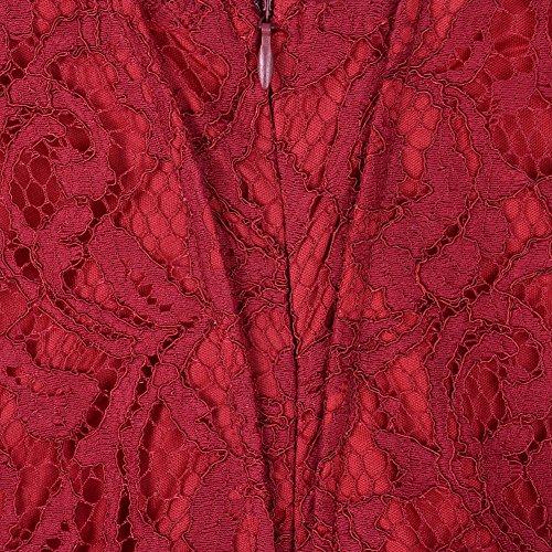 Suimiki Damen Übergröße schnüren Gefüttert Kleid Festlich Kleider Elegant Lang Abschlussball-Kleid-Cocktailparty Ballkleid Brautkleider - Größe 44-54 Rot
