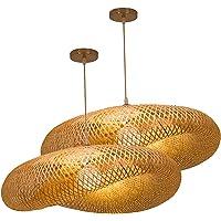Baoblaze Lustre Fait Main Bambou Lustre Naturel Rotin Abat-Jour Restaurants Lanterne Suspendus Au Plafond Abat-Jour Café…